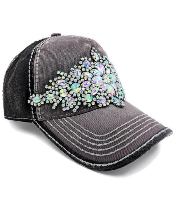 Olive & Pique Women's Large Bling Gem Rhinestone Baseball Cap - Charcoal/Black - CI12O1LF6Z6