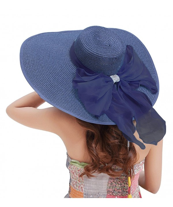 30th floor Women's Summer Wide Brim Beach Hats Sexy chapeau Large Floppy Sun Caps - Navy Blue-6 - CY17YZLAM82