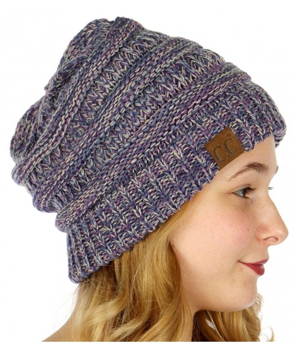SERENITA C.C Unisex 4 Tone Multicolor Warm Cable Knit Thick Beanie Hat - Purple/Dk. Denim/Beige/Navy - CT186GA6NCX