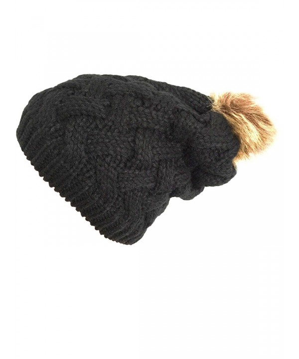 NY GOLDEN FASHION Women Chunky Cable Knit Oversized Slouchy Baggy Winter Thick Beanie Hat Pom Pom - Black - CQ1884YTEYX