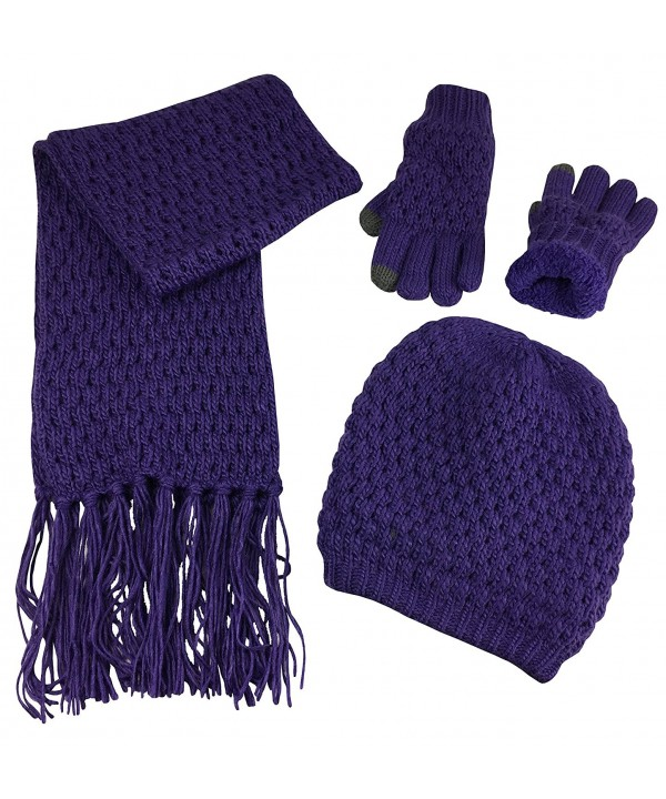 N'Ice Caps Women's Beanie Scarf Gloves 3PC Set Sherpa Lined Popcorn Stitch - Purple - CC187NHYK86