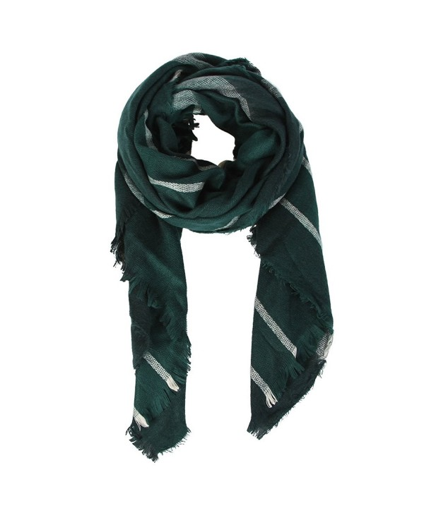Natural Feelings Fashionable Cozy Soft Big Grid Winter Scarf Wrap Shawl for Women - Dark Green - C112KJ98ZGJ