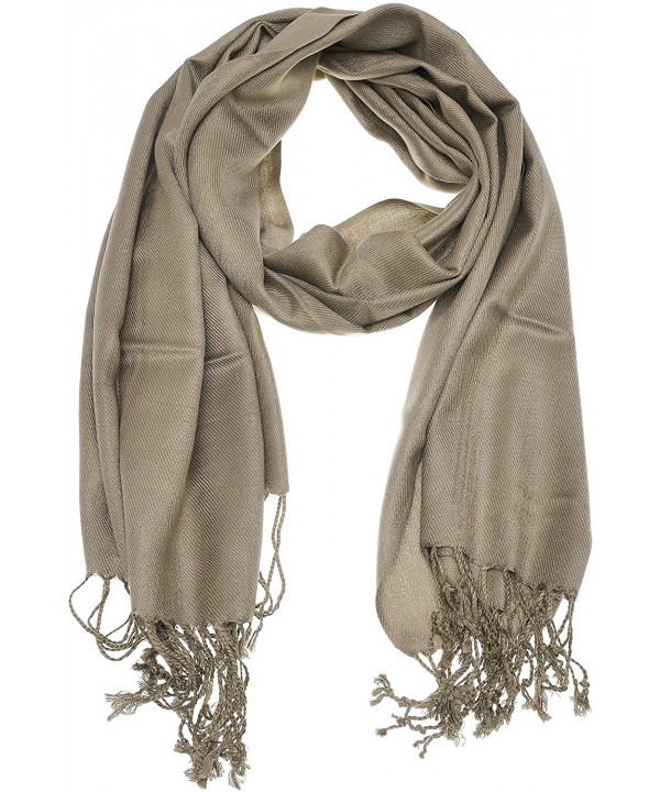 Hand By Hand Aprileo Women's Solid Pashmina Scarf Wrap Shawl Bright Shining Scarf - Taupe. - C912GUFV1PX