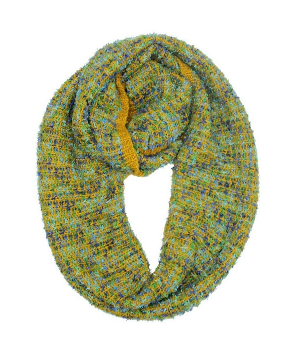 Winter Knit Multicolor Unisex Infinity Scarf - Yellow - C111OD09U5V