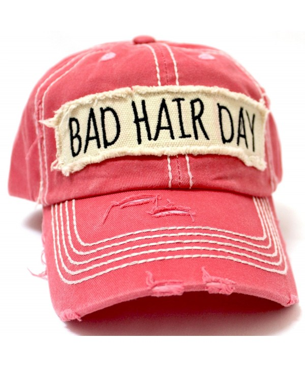 "New! Rose ""BAD HAIR DAY"" Embroidery Patch Baseball Cap - C31834HO9YZ"