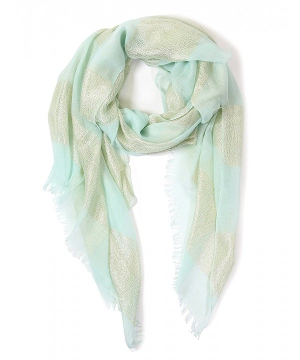 Women's Light weight Oblong Sparkle Shimmer Glitter Accented Scarf. - Aqua - CU182WCGXEN