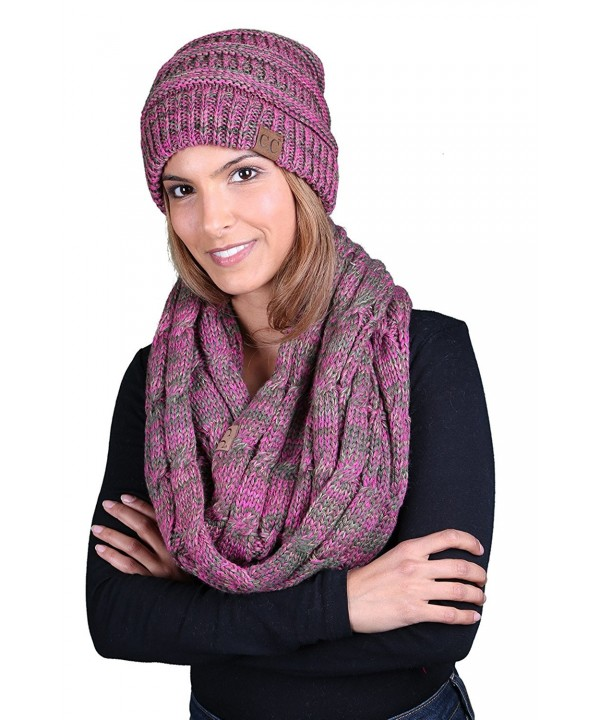 Funky Junque CC Soft Stretch Beanie Bundled With Matching Infinity Scarf - 4 Tone Mix - Pink- Green- Olive- Taupe - CO180HGTL4G