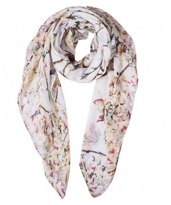 Amandir Women Floral Birds Lightweight Voile Print Shawl Scarf for Spring Season - Bird-beige - CY1899MUOAL