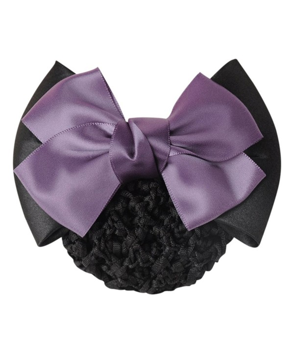Shuohu Women Pro Bow Barrette Hair Clip Cover Bowknot Bun Snood Hairnet - Purple - CK12I9RU21T