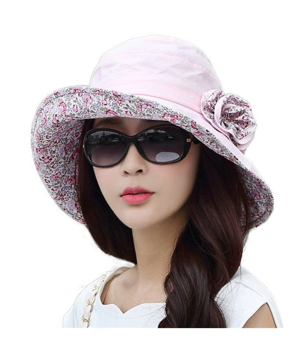 SIGGI Womens UPF50+ Summer Sunhat Bucket Packable Wide Brim Hats w/Chin Cord - 69117_pink - CG12E73Y4DB