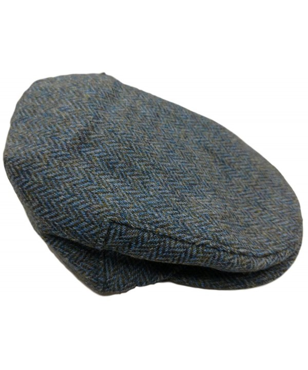 Irish Tweed Flat Cap (M (7 1/8)- Blue Herringbone) - CO11YKNEK4R
