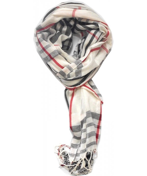 TitFus Classic Designer Inspired Plaid Pashmina Scarf Wrap shawl throw large (White) - CO11JZR0SYJ