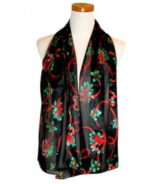 Christmas Scarf - Christmas Candy cane- Poinsettia Design w/ Gift Box By Knitting Factory - Black-os3009 - CJ187IXSCSD