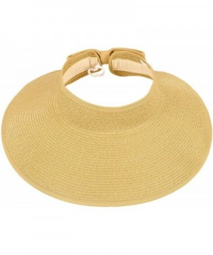 TAUT Women's Roll up Wide Brim Straw Hat Visor With Bow - Beige - CN123GYXFWN