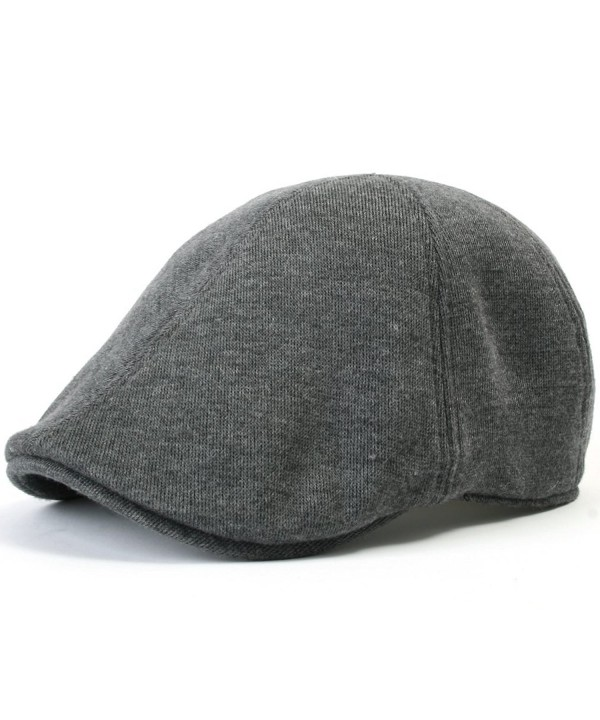 ililily Soft cotton Newsboy Flat Cap ivy stretch Driver Hunting Hat - Dark Grey - CX1102EWK09