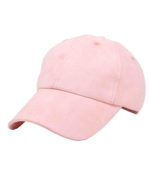 Oksale Bucket Hat Suede Adjustable Solid Flat Snapback Baseball Cap - Pink - C012HP5HTZD