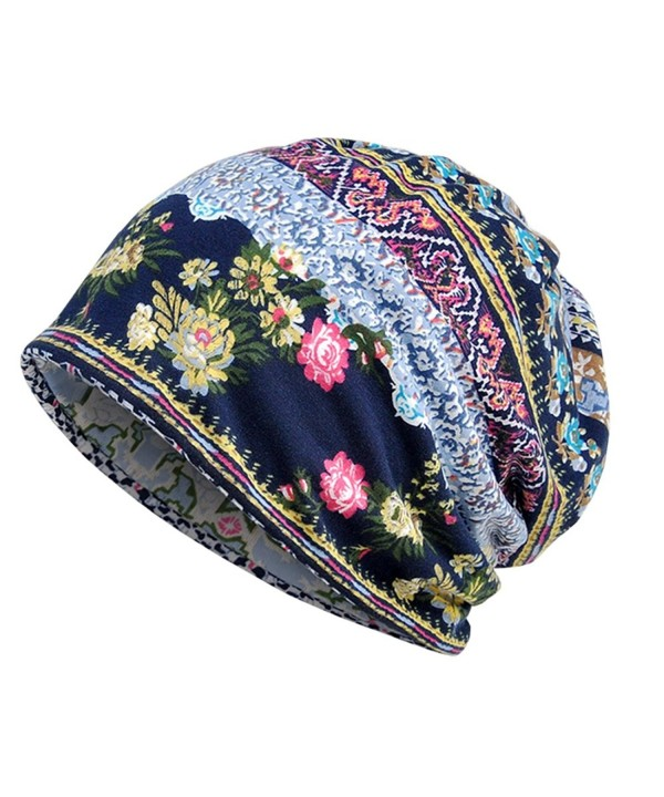 Parkside wind Womens Soft Cotton Boho Ethnic Flower Print Stripe Slouch Beanie Infinity Scarf (Blue) - C518742TA27