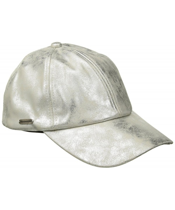Steve Madden Women's Metallic Faux Leather Baseball Cap - Silver - CK1825NLR96