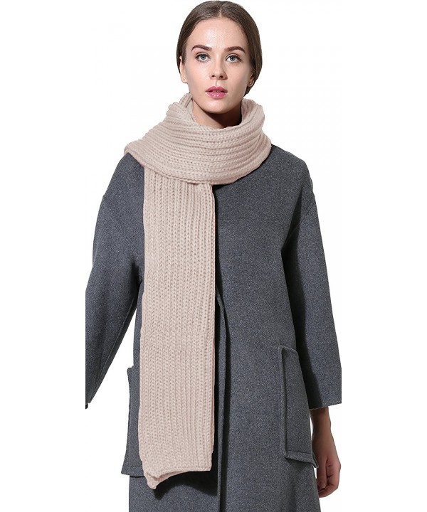 Women Men Winter Thick Cable Knit Wrap Chunky Warm Scarf All Colors - Hor Khaki - CQ186N0CIOC
