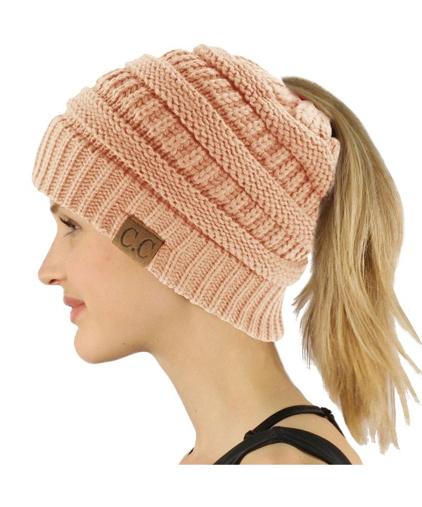 CC Beanietail Messy High Bun Ponytail Stretchy Knit Beanie Skull Hat - Indi Pink - CY1885ODZSH