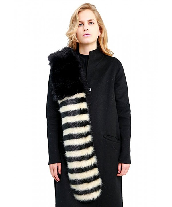 MissShorthair Striped Faux Fur Women Scarf Collar Stole Long Shawl Wraps - Black - CY11O9OAMK7