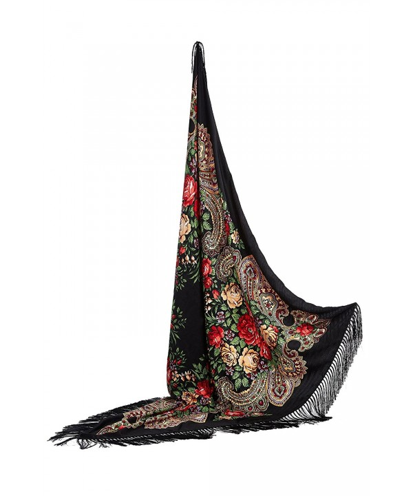 "Ladies Oversized Floral Shawl With Tassels Ukrainian Polish Russian Wrap 51"" x 51"" - Black - CO17YLUU5KN"