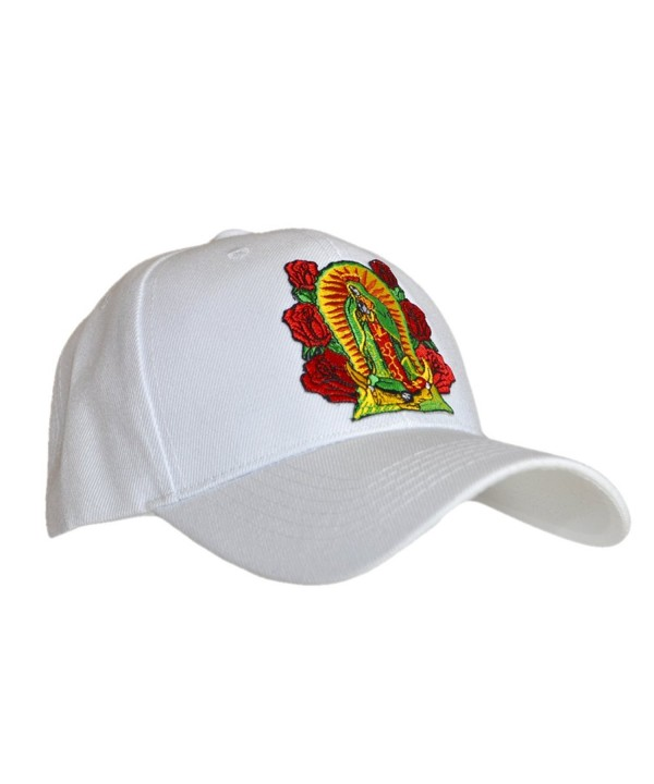 ShearFinesse Lady Guadalupe Virgin Mary Black or White Dad Hat w/Velcro or Buckle Strap - White - CL1839OIIC3