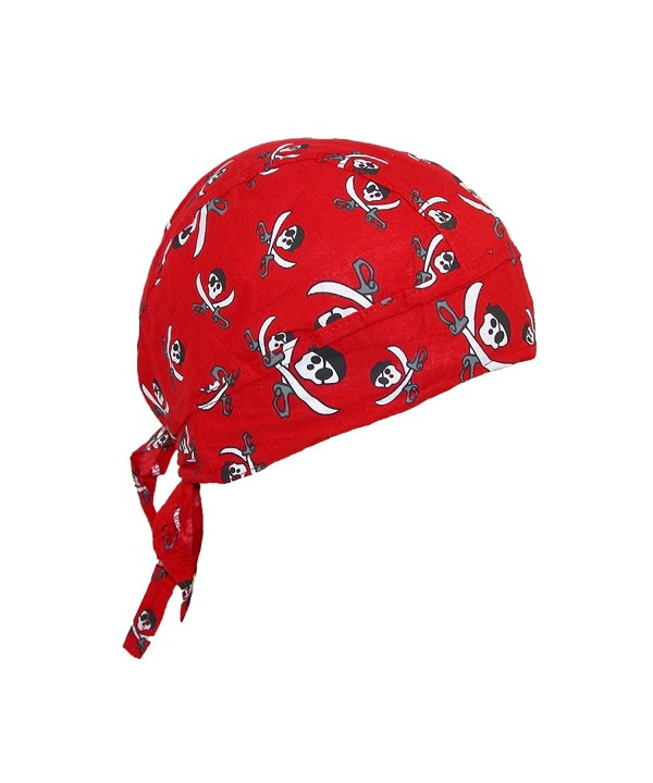 CTM Cotton Pirate Crossed Knives Skull Do RAG Cap - Red - CZ12M3YNMKR