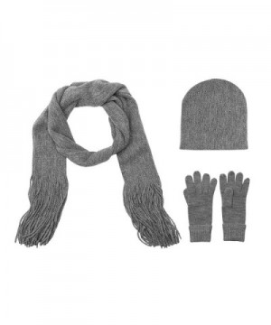 Winter Scarf Hat and Glove Gift Set Soft Womens Cold Weather 3 Pc. More Colors - Grey Heather - CO187LSE7L2