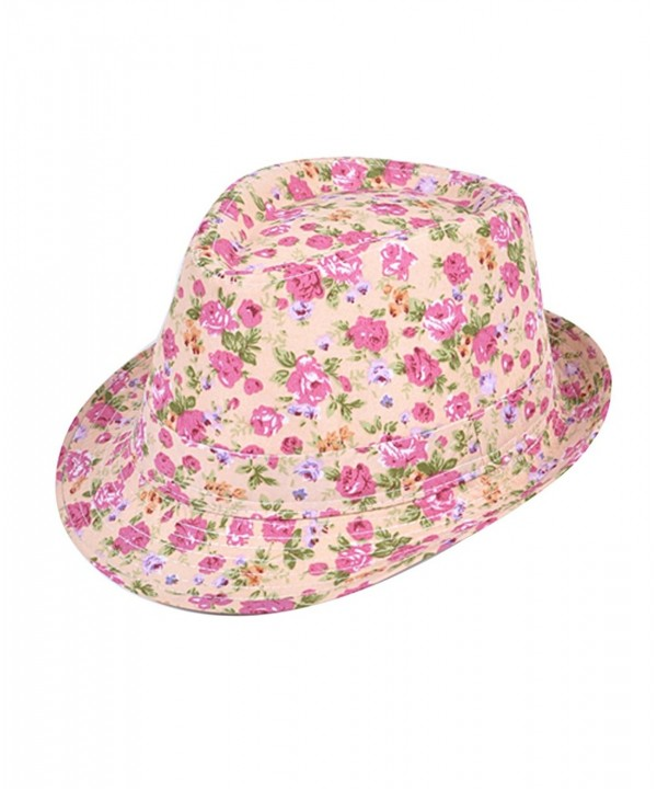 Ladies Spring Summer Fashion Floral Print Fedora Hats - Pink & Coral - CG11EW3Y2W5