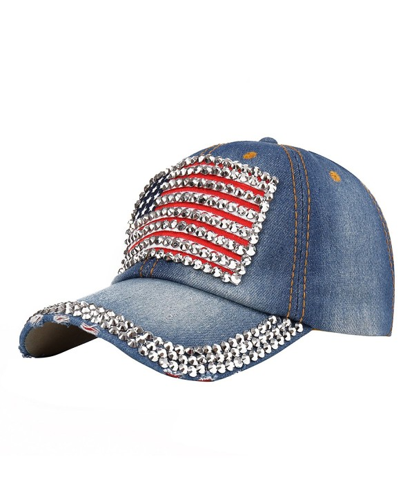 Raylans Women American Flag Rhinestone Jeans Denim Baseball Adjustable Bling Hat Cap - 4 - C612FM7RI8J