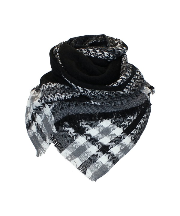 Boho Woven Houndstooth Blanket Scarf Shawl - Extra Long Winter Plaid Pashmina - Black - CY11QG7HV41