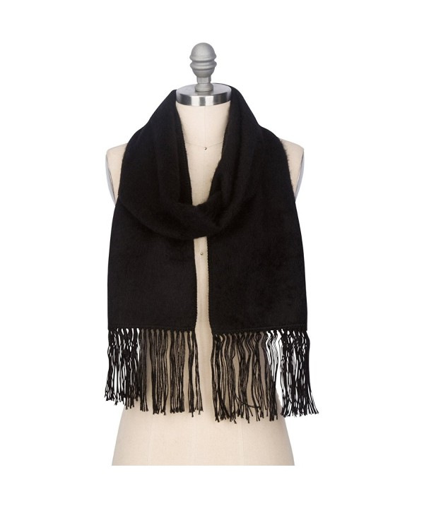 Luxurious Alpaca Scarf Certified Comfortable - Black - CG12O3IWG5U