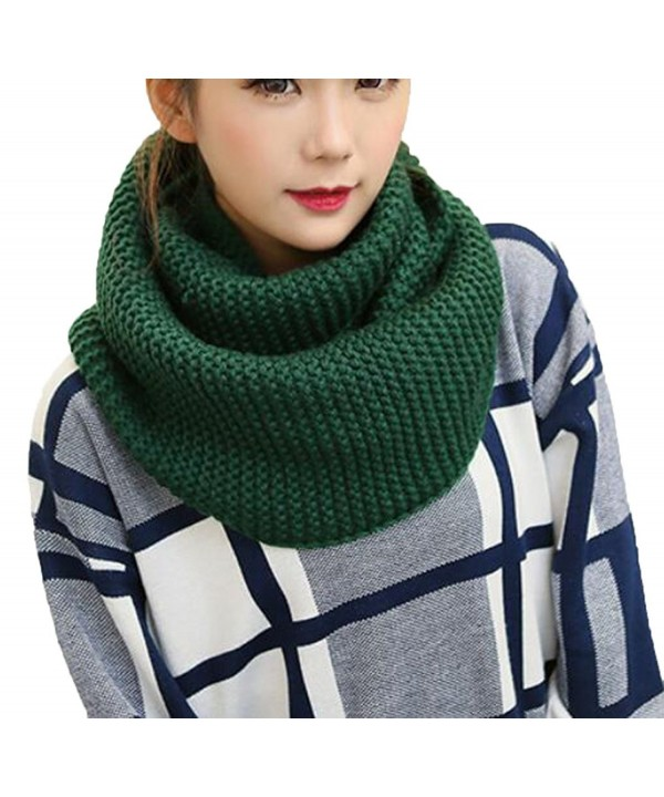 Women Fashion All-match Loop Scarf Knitting Scarf Winter Pure Color Warm Scarf - Deep green - C6128OHOOXB