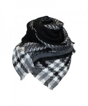 Black Woven Houndstooth Blanket Scarf