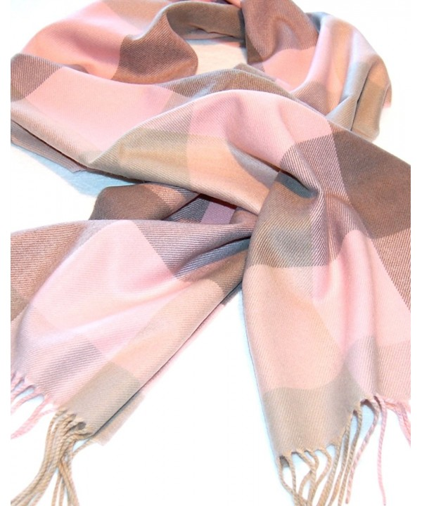 Pink & Taupe Plaid Cashmere Scarf - CR112HO501X