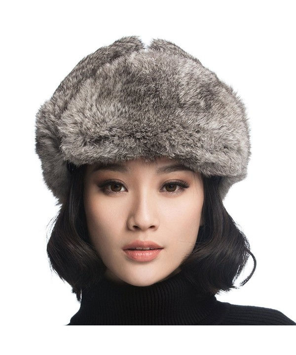 URSFUR Rabbit Fur Aviator Hat Women Black Leather Winter Bomber Cap Russian - Black With Grey Rabbit Fur - CC120I2O0LV
