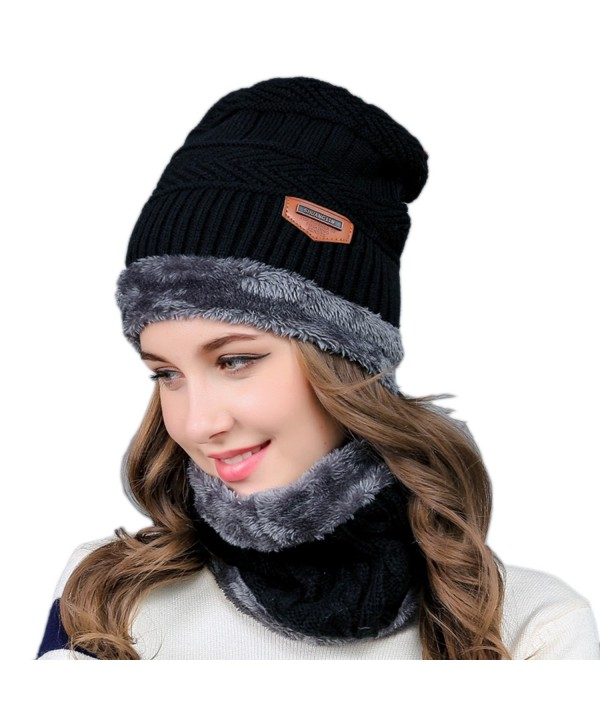 2-Pieces Winter Knit Hat and Circle Scarf with Fleece Lining- Warm Beanie Cap for Women - Black - CP186XYSLIO