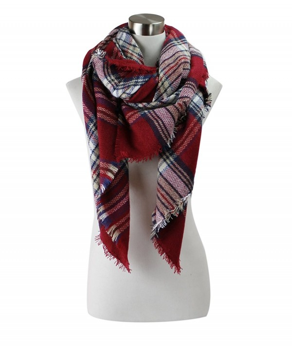 Classic Plaid Check Pattern Blanket Scarf - Burgundy - CL12M18CDCD