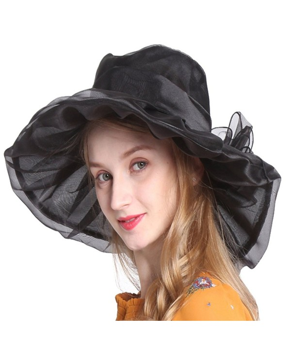 Ofocam Summer Women's Sun Hats Organza Hat Wide Brim Church Tea Party Wedding Hat - Black - CZ17YZCXAWI