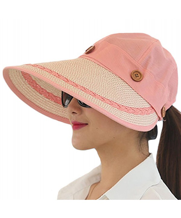 Kufv Women's Summer Beach Travelling Sun Hat UV Wide Brim Visor Caps - Pink - C712IKQNOG9