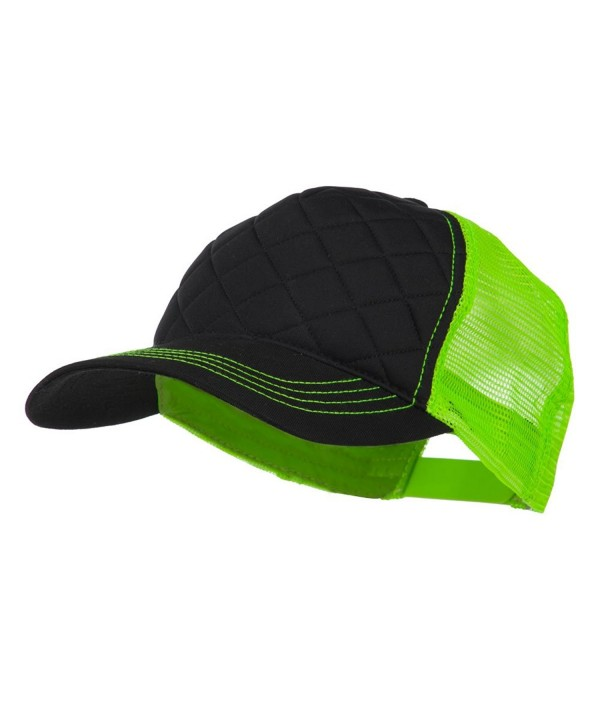 Fashion Quilted Trucker Two Tone Neon Mesh Cap - Black Neon Green OSFM - C911M6KPODR