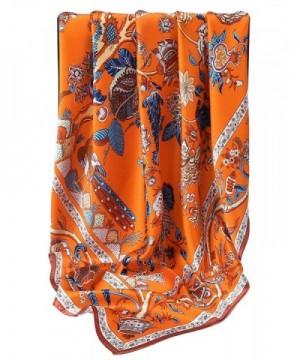 Grace Scarves 100% Silk Scarf- Extra-Large - Beanstalk- Orange - CL188QSAM8D