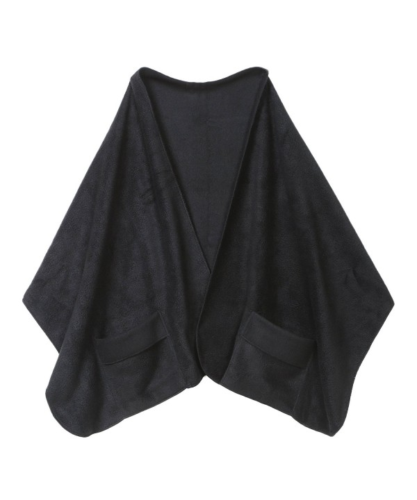 "Unisex-Adult Shawl With Pockets - Polyester Fleece 20"" X 58"" - Black - CM11QW6H0SN"
