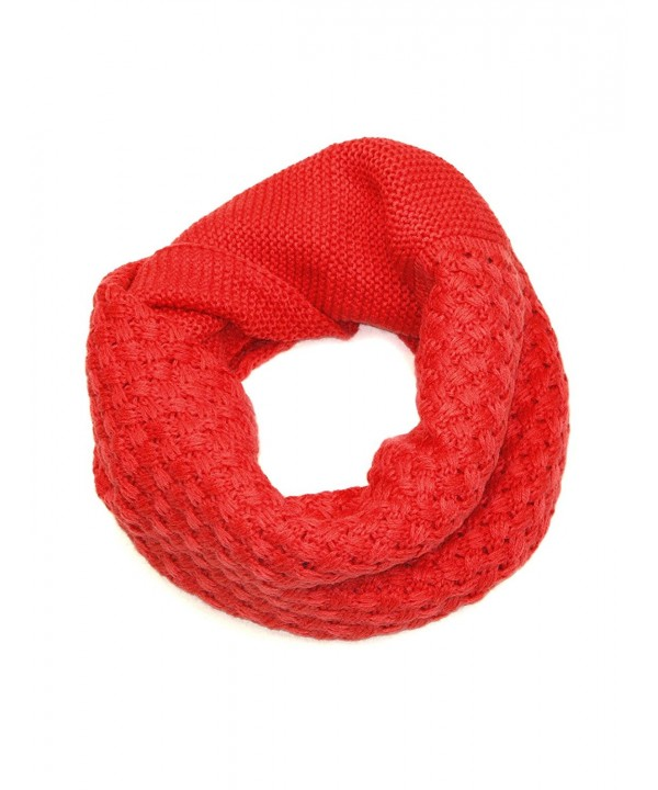 Lovarzi Snoods for Men & Women - Unisex Crosshatch Cowl & Snood Scarf - Red - CL11BV33S1F