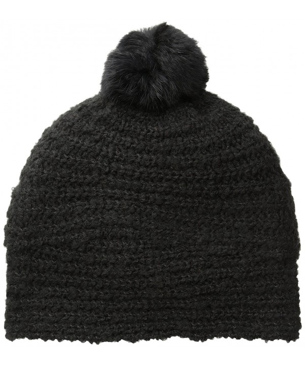 Echo Women's Balmoral Boucle Hat with Fur Pom - Black - CI11MN0DAVR