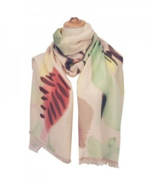 CALYFER Lightweight Scarves Vibrant Painting Artistic Print Shawl Wrap For Women - Light Yellow Floral - CO186LE5S92