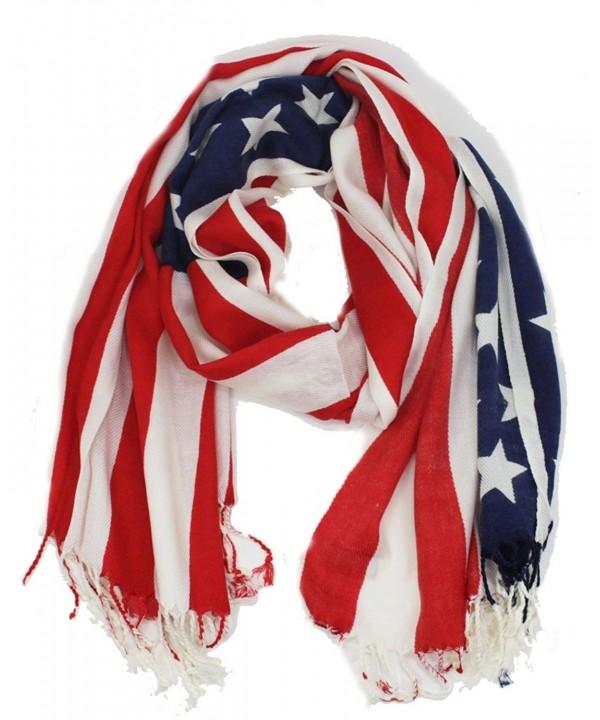 """Soft American USA Flag Print Wrap Shawl Scarf 80 """" x 29"""" - C412BVCROVF"""
