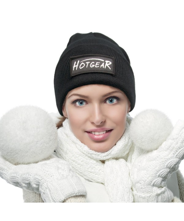 Hotgear Women's and Men's Winter Warm Hat Knitting Beanie Cap - Black - C5188QSOD4D
