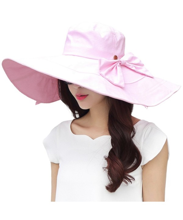 Siggi Womens Summer Floppy Cotton Sun Hat Wide Brim Packable Reversible UPF 50+ - 69076_pink - C412H19JDVL